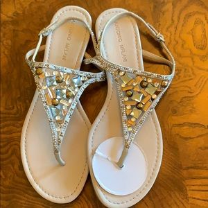 Sandals with brown & silver rhinestones never worn